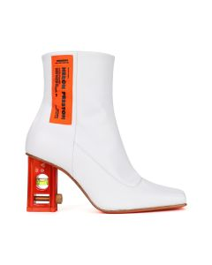 HERON PRESTON LEVEL BOOTIE LEATHER / 0122 : WHITE ORANGE