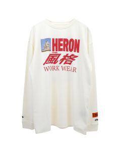 HERON PRESTON T-SHIRT REG LS HORSE HERON / 0188 : WHITE MULTICOLOR
