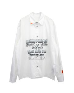 HERON PRESTON SHIRT LS PRINTED POPELINE / 0110 : WHITE BLACK