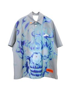 HERON PRESTON SHIRT SS SKULL REFLEX / 0588 : ICE GREY MULTICOLOR