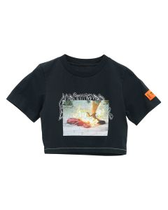 HERON PRESTON CROP T-SHIRT SS NATURAL DISAS / 1088 : BLACK MULTICOLOR