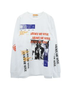 INDVLST HAND PRINTED ARMY OF ONE LONG SLEEVE T-SHIRT / WHITE