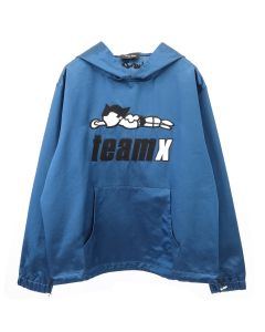 Just Don TEAM X SATIN PULLOVER HOODIE / BLUE