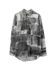 iggy WET CEMENT BUTTON DOWN SHIRT / WHITE-BLACK PRINT