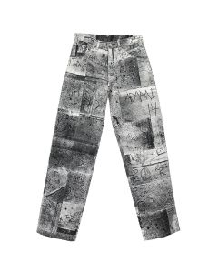 iggy WET CEMENT WORK PANT / WHITE-BLACK PRINT