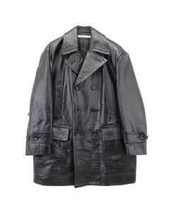 JOHN LAWRENCE SULLIVAN EMBROSSED LEATHER OVERSIZED SHORT COAT / BLACK