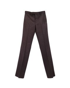 JOHN LAWRENCE SULLIVAN WOOL FLANNEL STRAIGHT TROUSERS / BORDEAUX