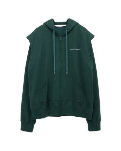 JOHN LAWRENCE SULLIVAN COTTON SWEAT TUCKED SHOULDER HOODIE / GREEN