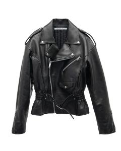 JOHN LAWRENCE SULLIVAN WAIST GATHERED LEATHER JACKET / BLACK