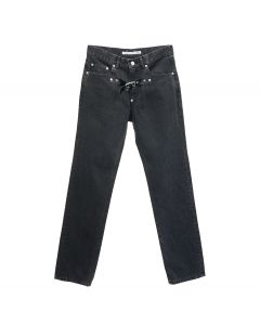 JOHN LAWRENCE SULLIVAN FRONT SIDE BELTED DENIM PANTS / BLACK