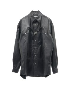 JOHN LAWRENCE SULLIVAN FRONT SIDE BELTED SHIRT / BLACK