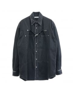JOHN LAWRENCE SULLIVAN FRONT SIDE BELTED DENIM SHIRT / BLACK