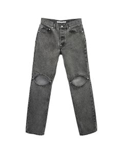 JOHN LAWRENCE SULLIVAN BLEACHED DENIM KNEE HOLE PANTS / GREY
