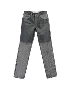 JOHN LAWRENCE SULLIVAN DENIM X CRACKED LEATHER BI-COLOR / BLACK