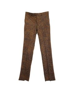 JOHN LAWRENCE SULLIVAN CRACKED COATING STRAIGHT TROUSER / BROWN