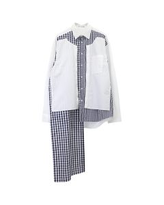 JW Anderson DOUBLE PLACKET GINGHAM PATCHWORK / 001 : WHITE