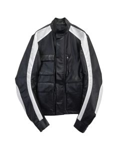 KANGHYUK FAUX LEATHER 3 POCKET JACKET / BLACK