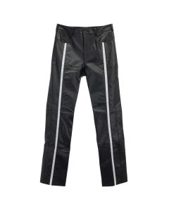 KANGHYUK FAUX LEATHER STRIPE TROUSERS / BLACK-WHITE