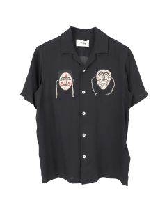 Kirin By Peggy Gou MASKS VISCOSE BOWLING SHIRT / 1061 : BLACK BEIGE