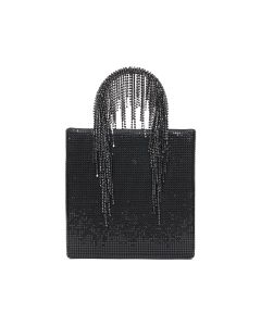 KARA CHAIN MAIL CRYSTAL FRINGE TOTE / BLACK