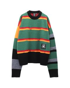 LIAM HODGES BROKEN STRIPE CREW NECK / 412 : GREEN