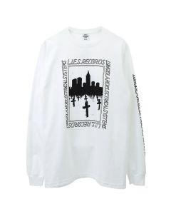 L.I.E.S. Records L.I.E.S. BQE GRAVE LONG SLEEVE TEE / WHITE