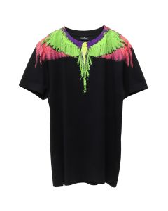 MARCELO BURLON FLUO GLITCH WINGS T-SHIRT / 1088 : BLACK MULTI