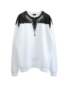 MARCELO BURLON BLACK WINGS CREWNECK / 0110 : WHITE BLACK