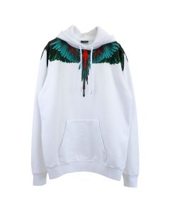 MARCELO BURLON GREEN WINGS HOODIE / 0155 : WHITE GREEN