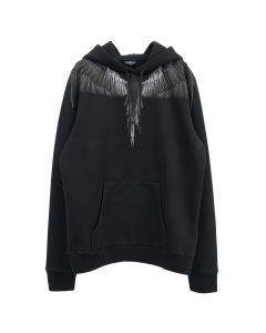 MARCELO BURLON BLACK WINGS HOODIE / 1010 : BLACK BLACK