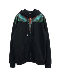MARCELO BURLON GREEN WINGS ZIPPED HOODIE / 1055 : BLACK GREEN