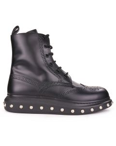 ALEXANDER McQUEEN H.BOOT LEATH S.RUBB N.LIQ.SPA / BLACK-SILVER