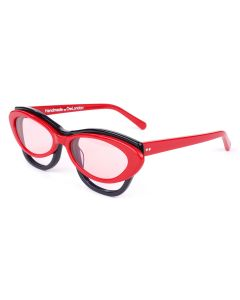 Martine Rose DOUBLE FRAME CAT-EYE HEPBURN GLASSES / RED-BLACK