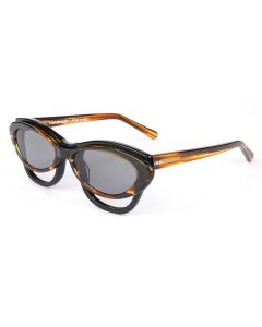 Martine Rose DOUBLE FRAME CAT-EYE HEPBURN GLASSES / TORT-NAVY