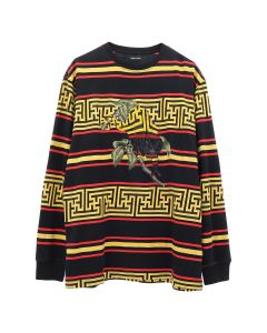 maharishi EMBROIDERED STRIPED L/S T-SHIRT / FLARE RED