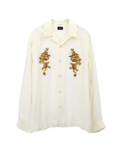 maharishi GOLDEN SUN DRAGON SILK SHIRT / ECRU-GOLD
