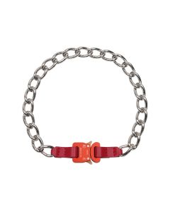 1017 ALYX 9SM CHAIN NECKLACE w/LEATHER DETAILS / RED0001 : RED