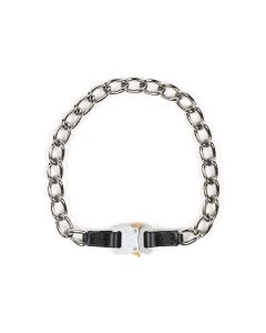 1017 ALYX 9SM CHAIN NECKLACE W/LEATHER DETAILS / MTY0001 : BLACK-SILVER
