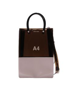 nana-nana PVC x OPAQUE A4 BAG / BLACK-LIGHT PINK