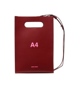 nana-nana LEATHER A4 BAG / RED BROWN-N.PINK PRINT