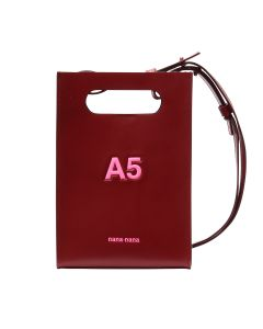 nana-nana LEATHER A5 BAG / RED BROWN-N.PINK PRINT
