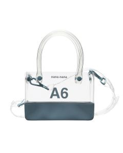 nana-nana PVC x OPAQUE A6 BAG / CLEAR-BLUE GRAY