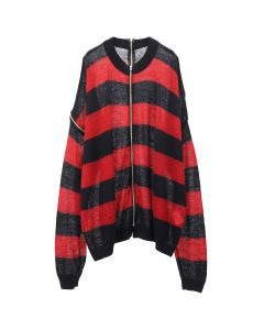 NEGLECT ADULT PATIENTS BORDER MOHAIR KNIT / BLACK-RED