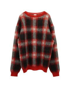 NEGLECT ADULT PATiENTS CHECK SWEATER / RED