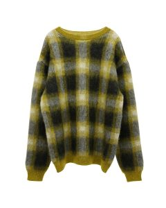 NEGLECT ADULT PATiENTS CHECK SWEATER / YELLOW