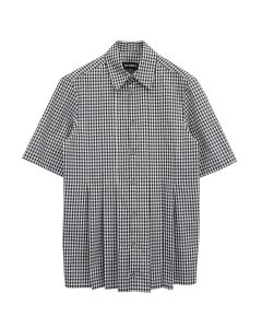 NICOMEDE SHORT SLEEVE GINGHAM SHIRT / BLACK-WHITE
