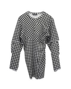 NICOMEDE LONG SLEEVE DOUBLE LAYER GINGHAM / BLACK-WHITE