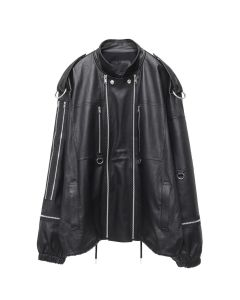 99%IS- STRETCH LEATHER ZIP JACKET / BLACK