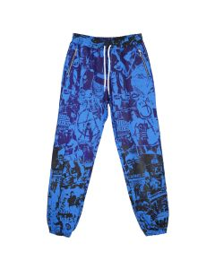 99%IS- COLLAGE PRINT PANTS / BLUE