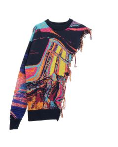 Necessity Sense FRED CUTAWAY SWEATER / OIL PAINTING